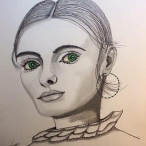 portrait la belle aux yeux emeraude-patrice vannicatte