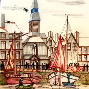 port de Honfleur et sa petite Eglise- Patrice Vannicatte