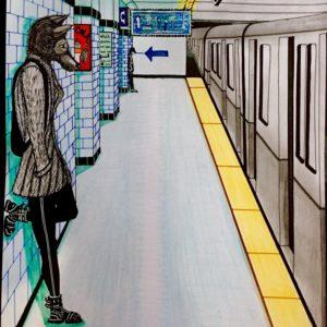 femme avec une tête de louve dans le métro-Patrice Vannicatte