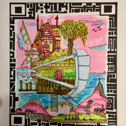 maquette dessin village suspendu tons roses dans QRcode