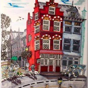 maison rouge sur un petit pont d'Amsterdam-patrice vannicatte